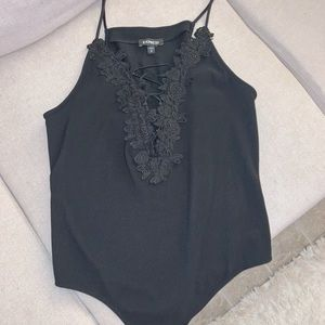 Black crochet and lace up bodysuit